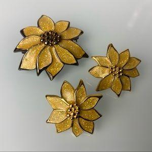 🔹5/$20 VINTAGE Golden Yellow Poinsettia Set of 3